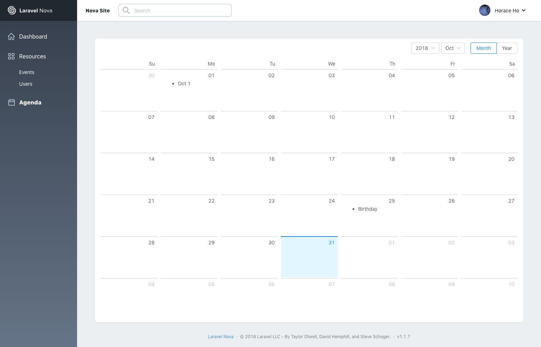 GitHub - horaceho/laravel-nova-agenda: An event calendar