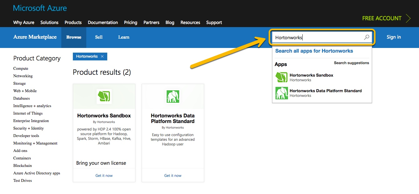 "Select ""Hortonworks Sandbox"" from the bottom view."