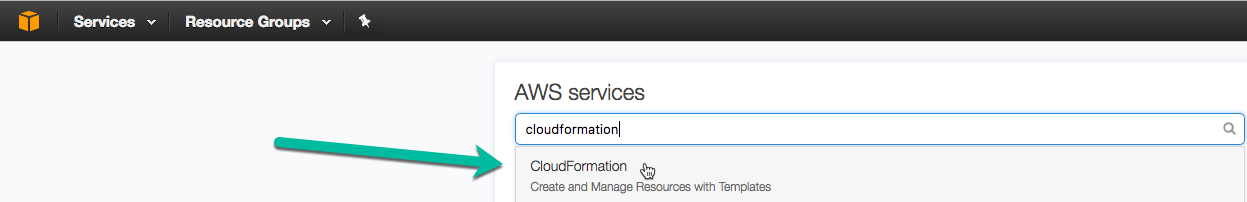 search for CloudFormation service