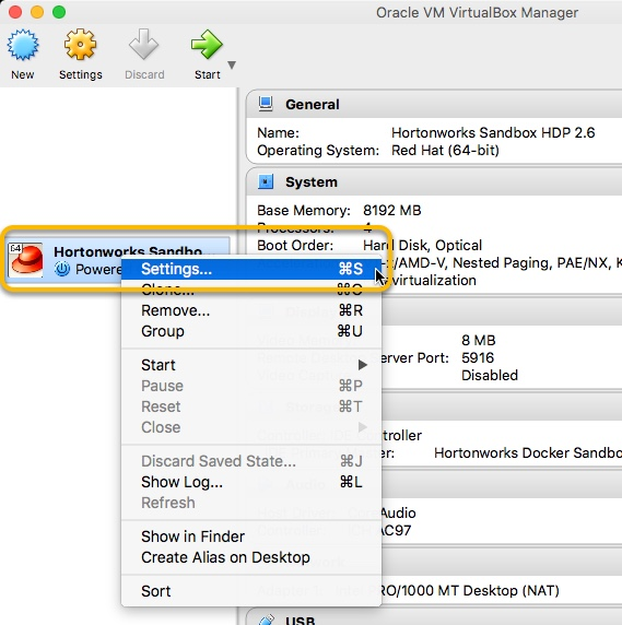 VirtualBox Entry Settings