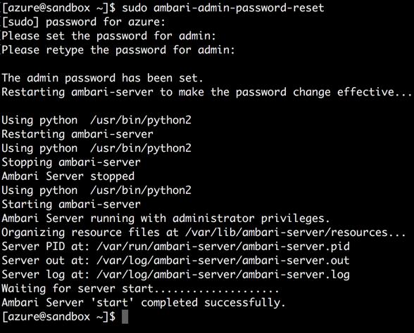 Terminal Update Ambari admin password Azure