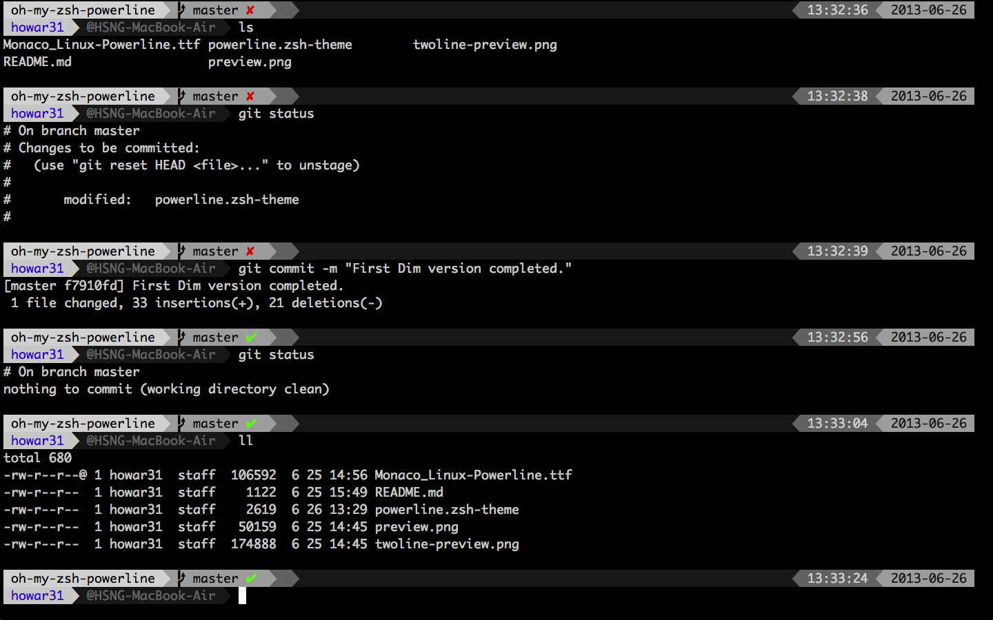 howar31/oh-my-zsh-powerline-theme oh-my-zsh Powerline style