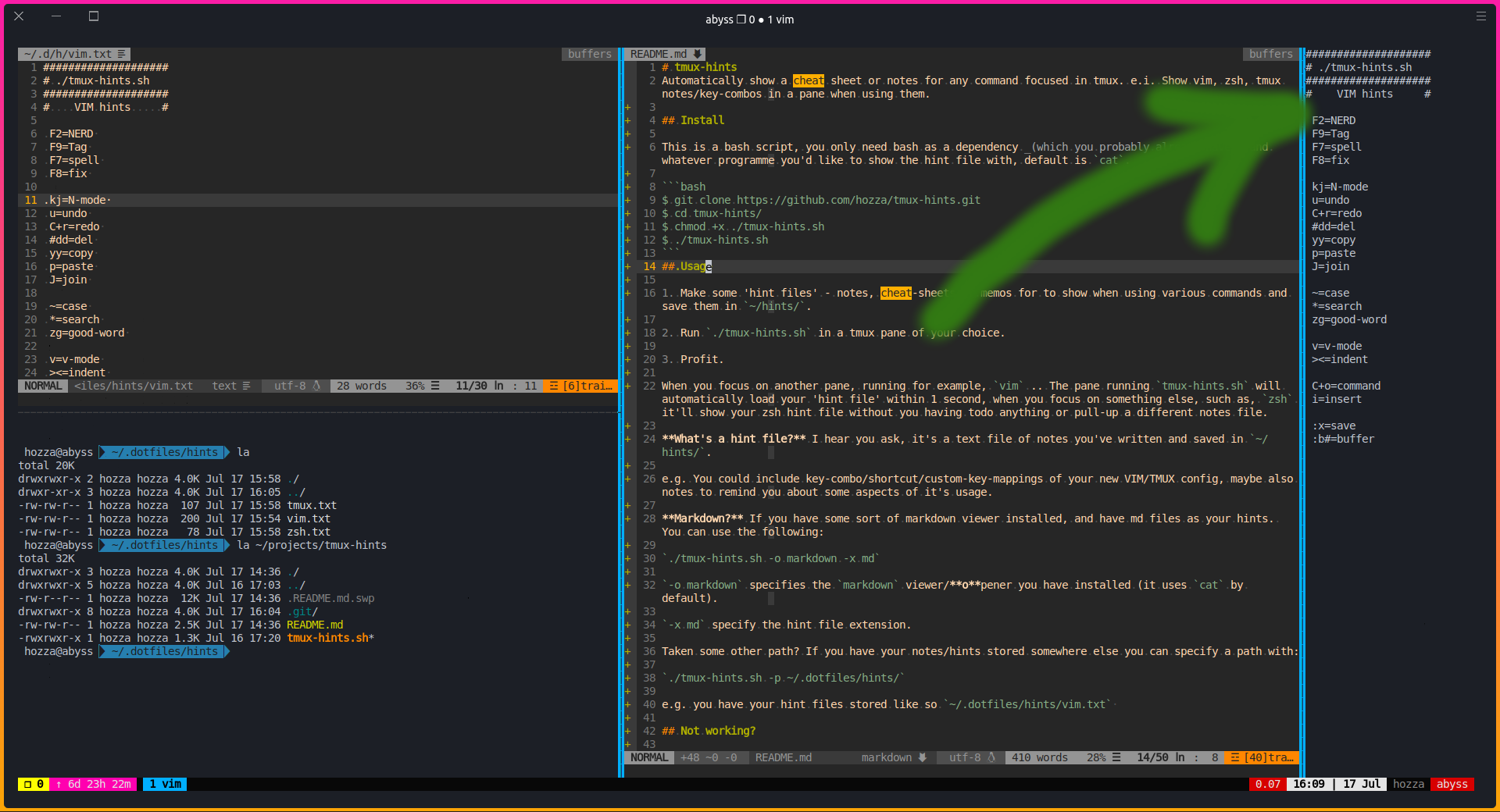 tmux-hint.sh Screenshot