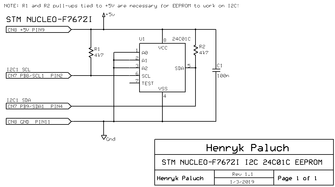 Schematic of STM32 Nucleo with I2C EEPROM 24C01C