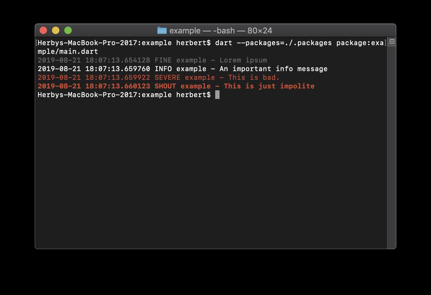 Color Output Screenshot