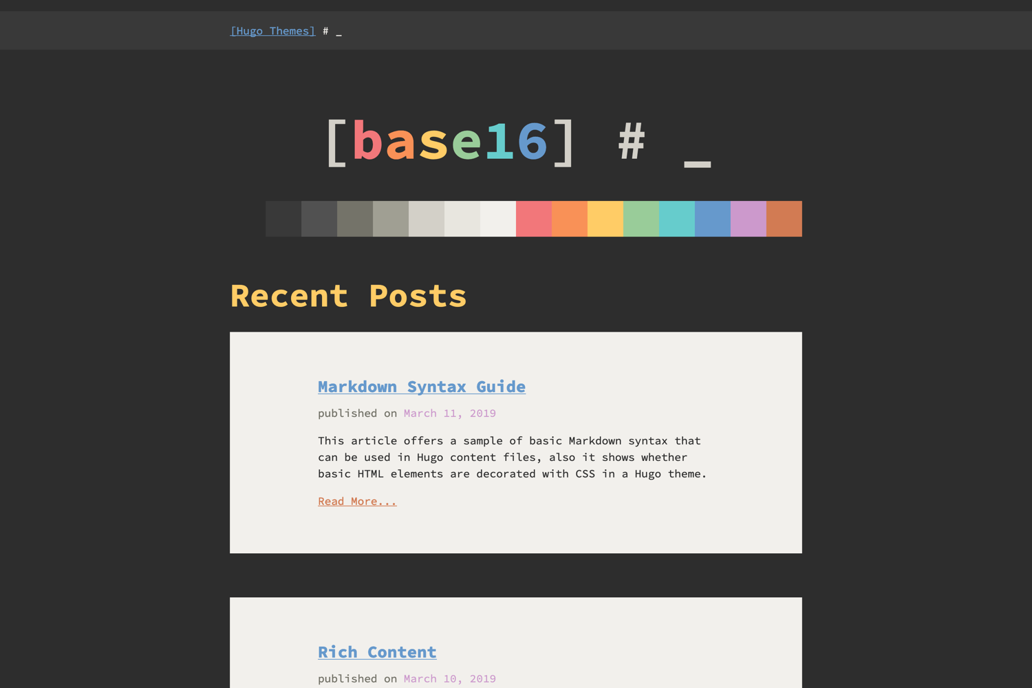 Hugo Base16 Theme screenshot