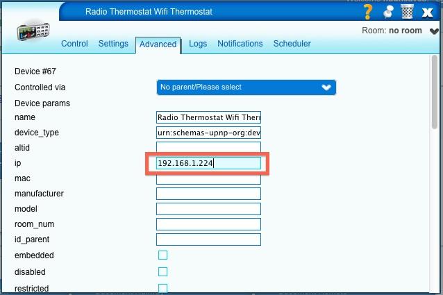 Screenshot showing advanced configurtation tab