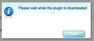 Screenshot showing please wait dialog