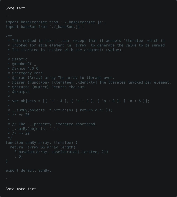 Sample output with no language and no line range