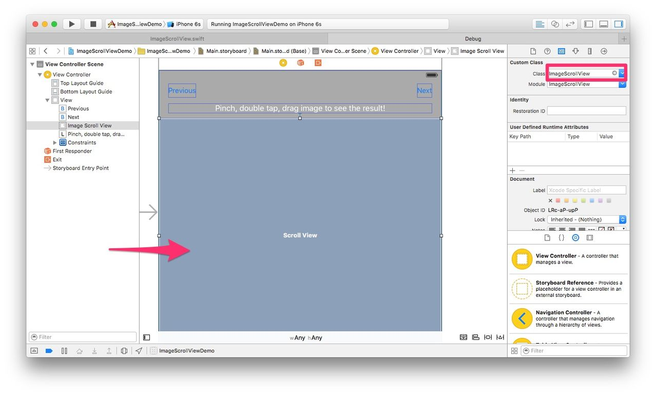 How to config ImageScrollView in storyboard