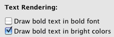 iTerm bold settings