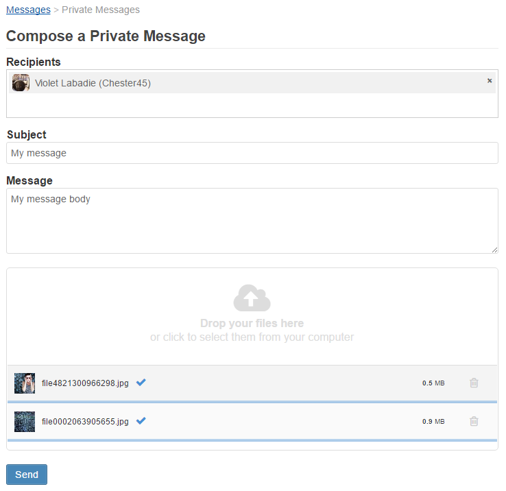 Compose a message interface