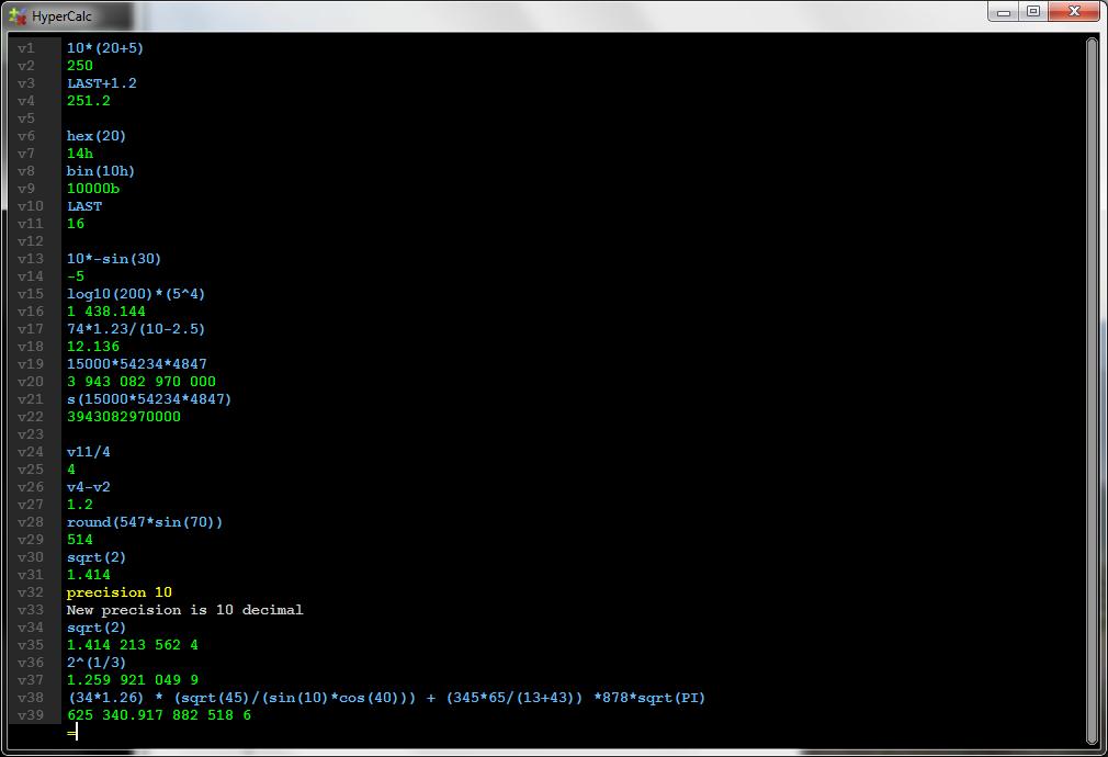 HyperCalc screenshot 1