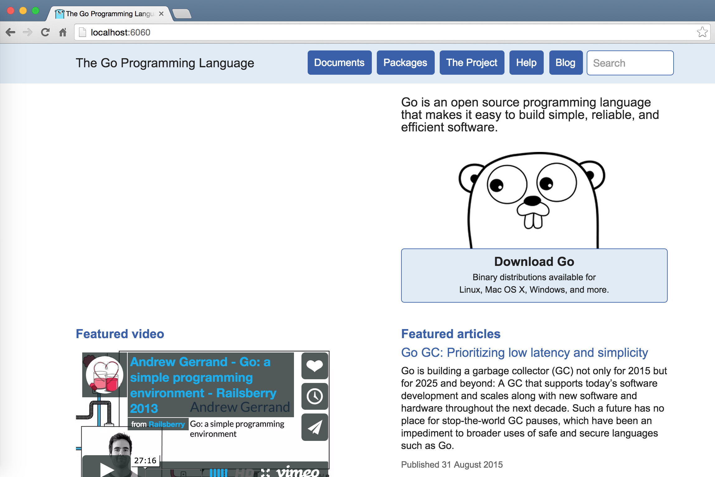 本机的Go文档Web服务首页