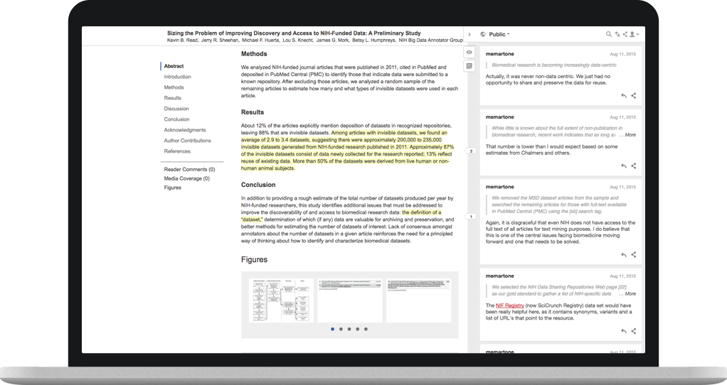 Screenshot of Hypothesis client