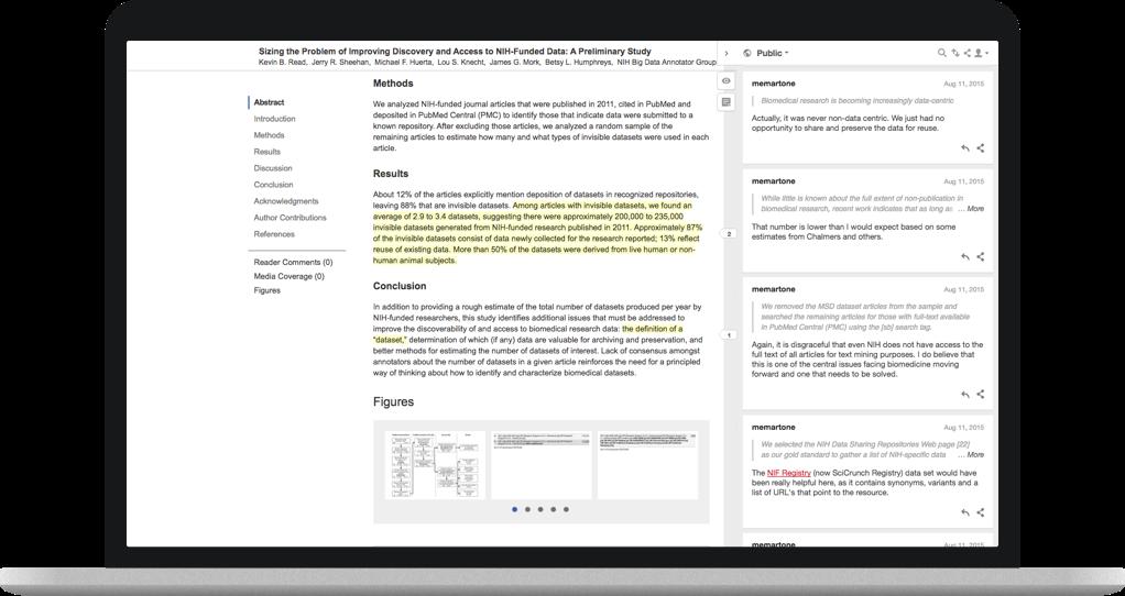 Screenshot of Hypothesis client