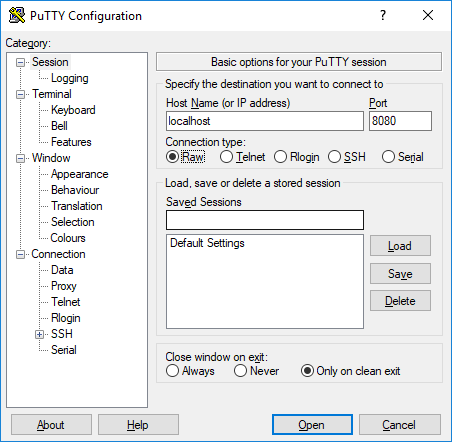 Connecting with PuTTY