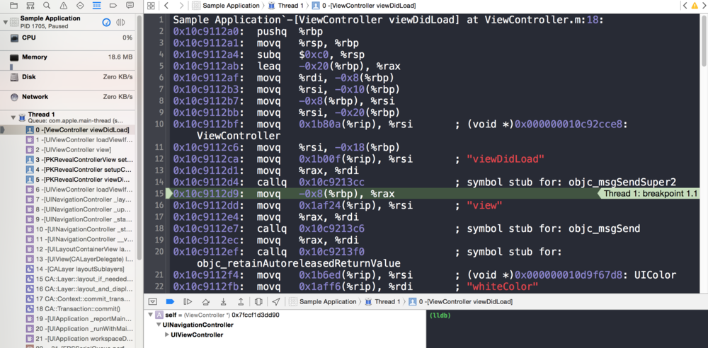 结果跳到了debug视图(汇编代码).png