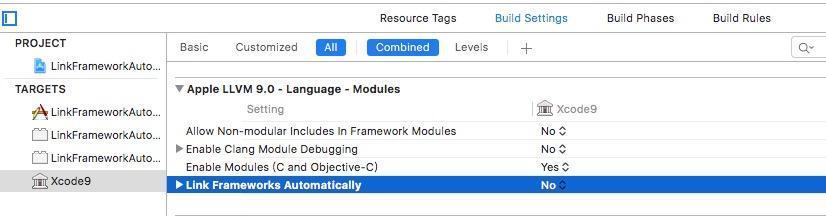 设置 Link Frameworks Automatically 为 NO.jpeg