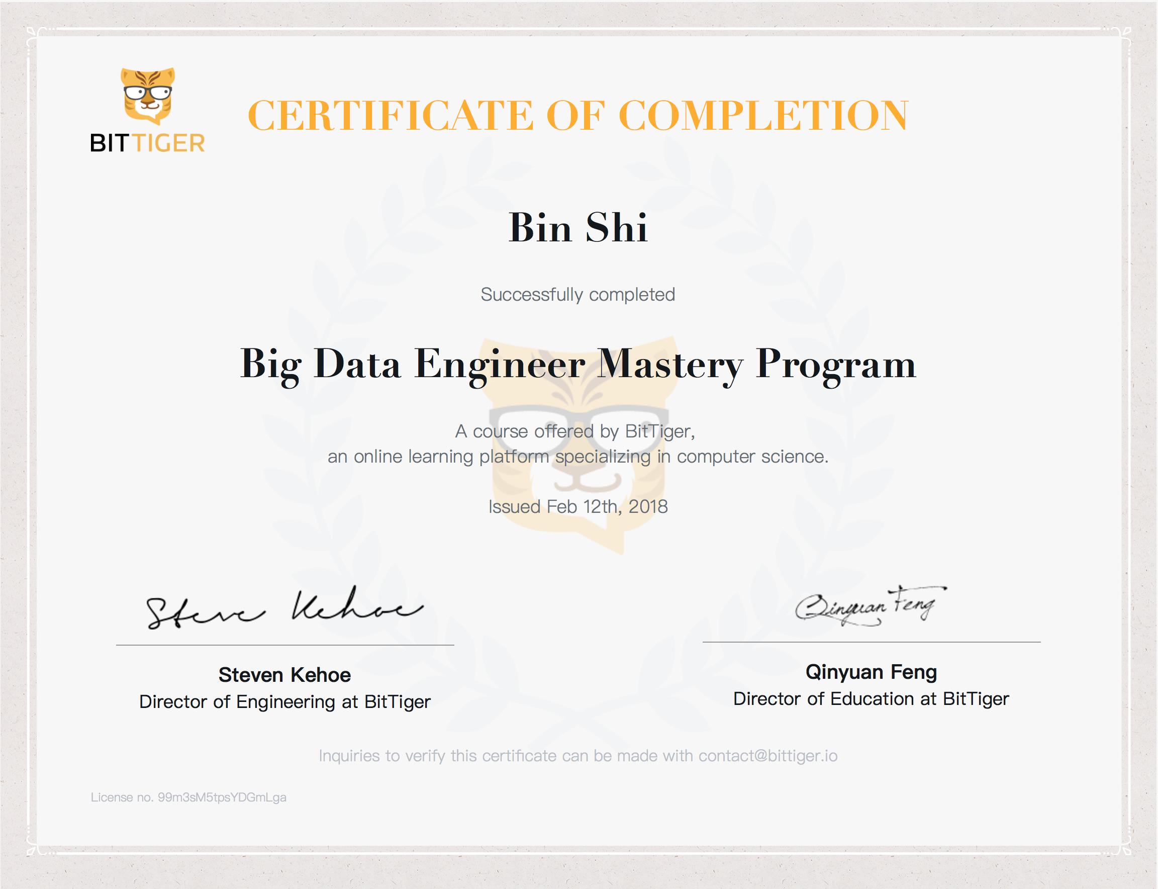 Big Data Certificate @Bittige