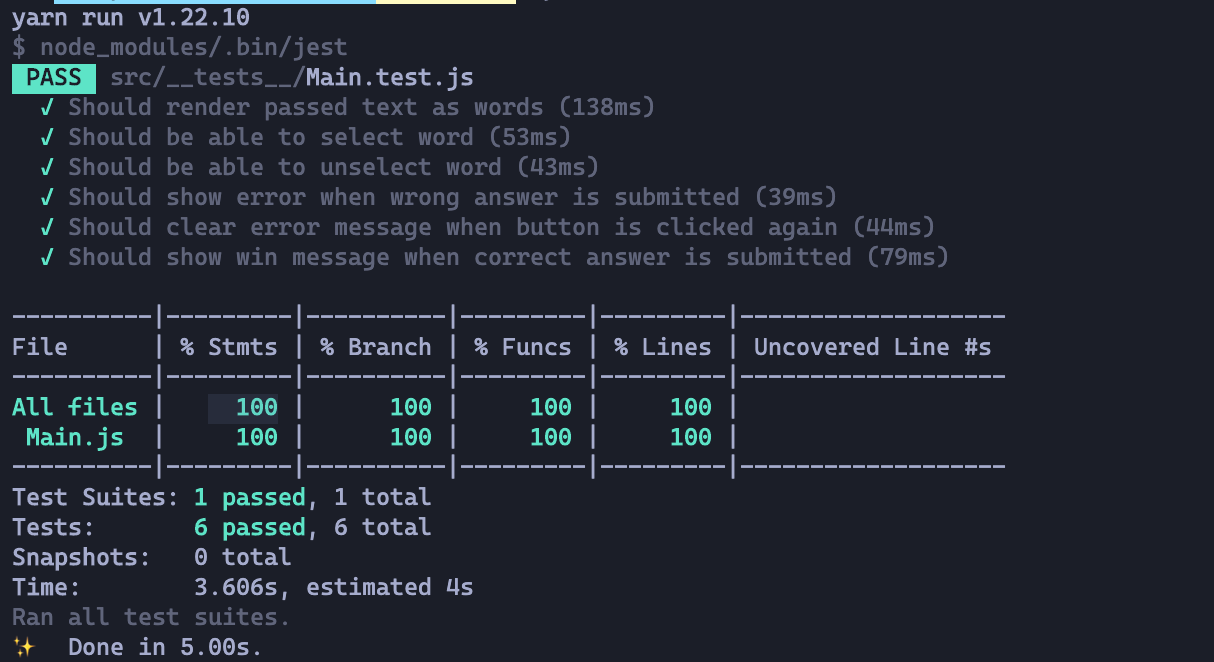 test coverage on terminal