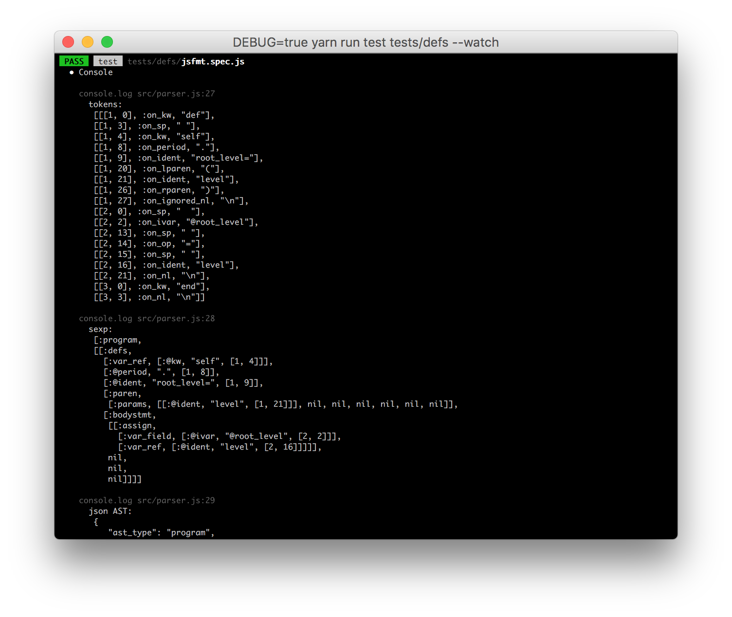 Debug mode enabled, showing the parsed Ruby tokens and more