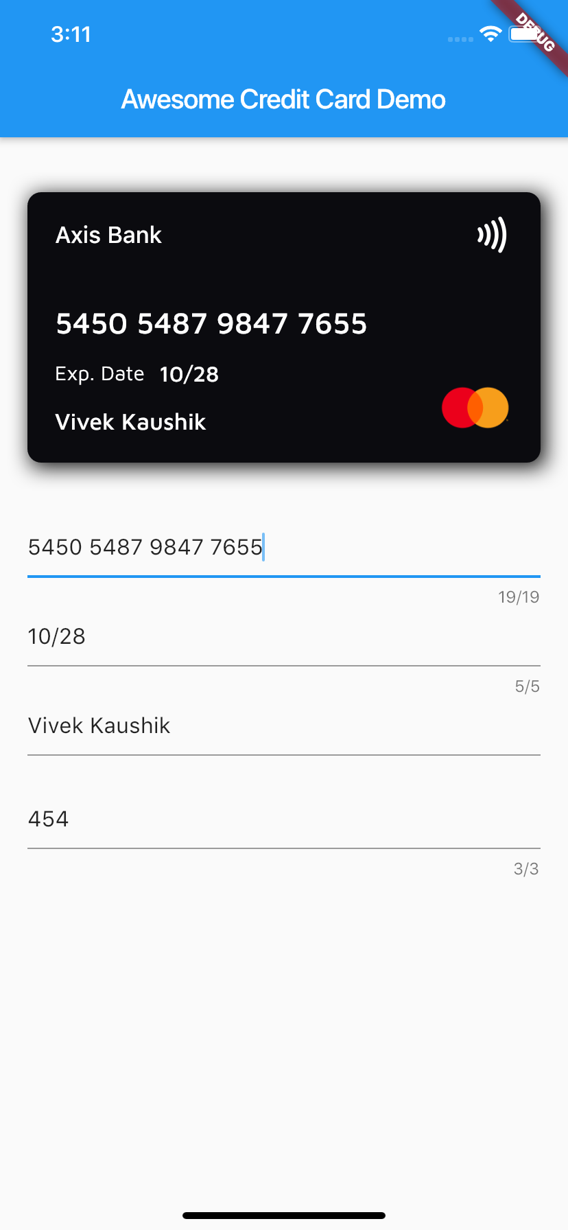 Flutter Credit Card Widget