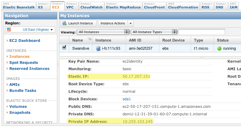 EC2 example demonstrating where the IP addresses are