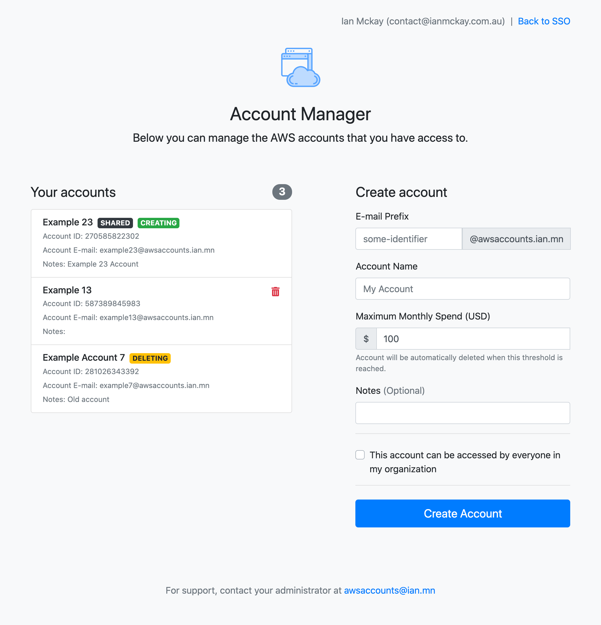 AWS Account controller