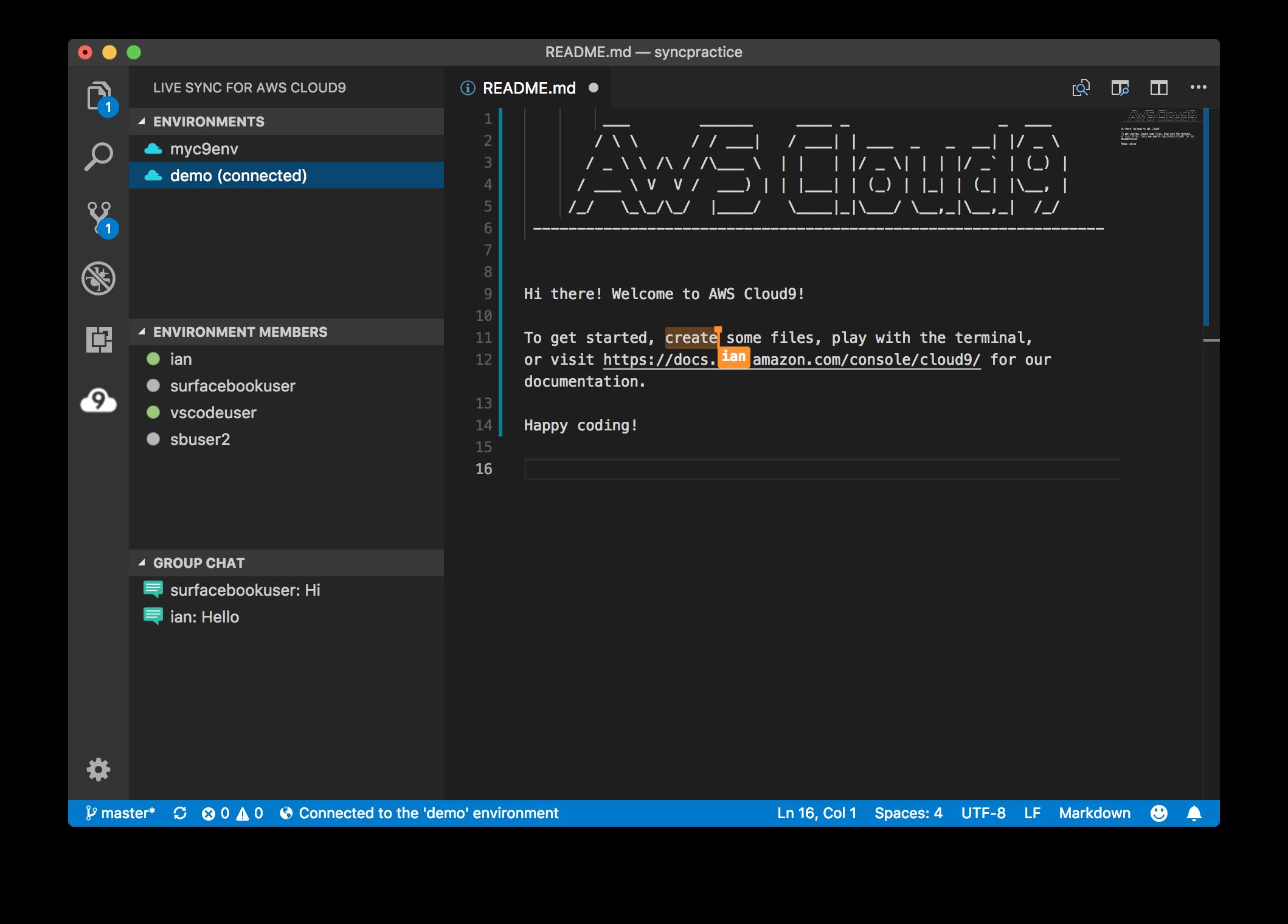 Live Sync for AWS Cloud9 Screenshot