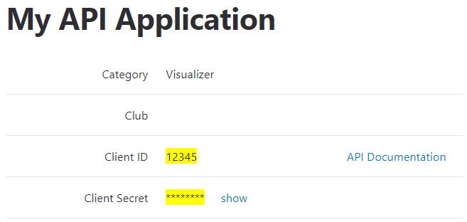 Strava API id and secret