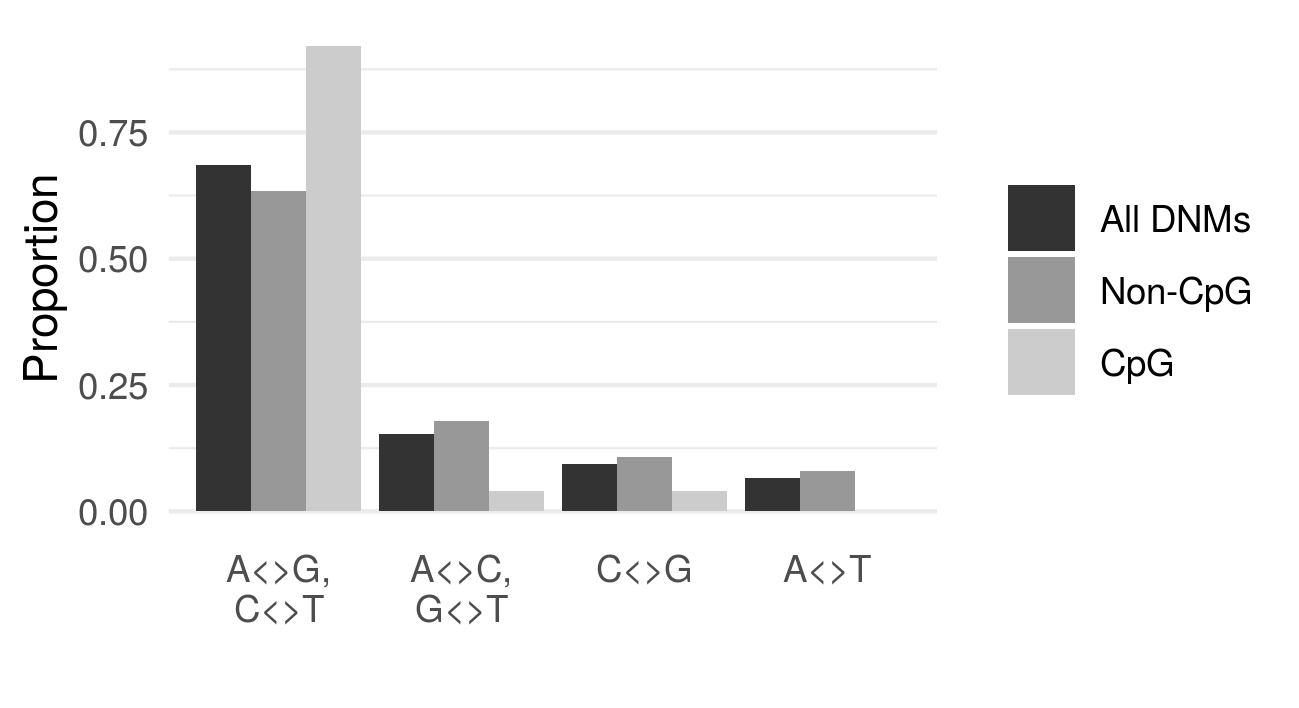 Fig. 2. Most DNMs are transitions (A<>G, C<>T).