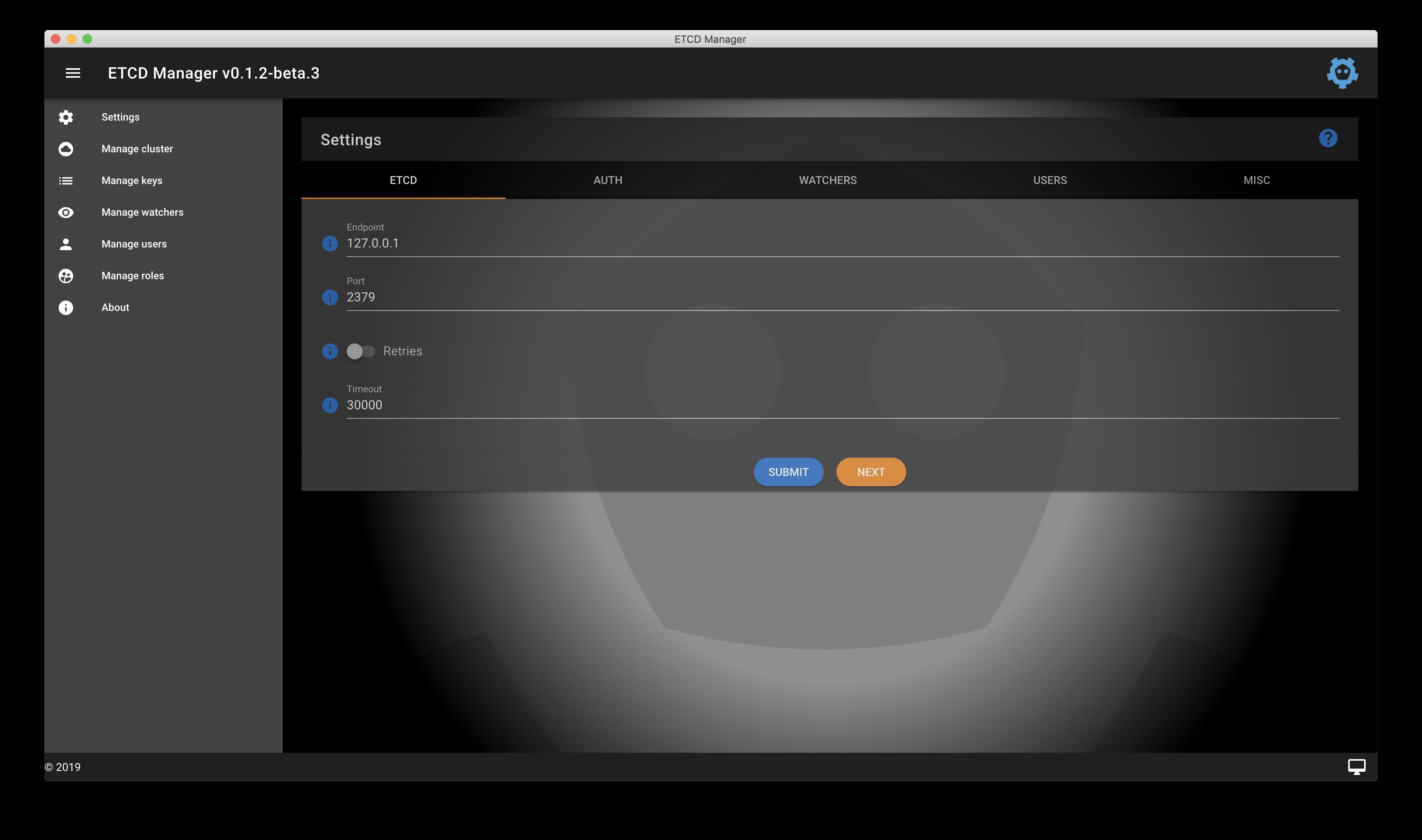 The settings screen