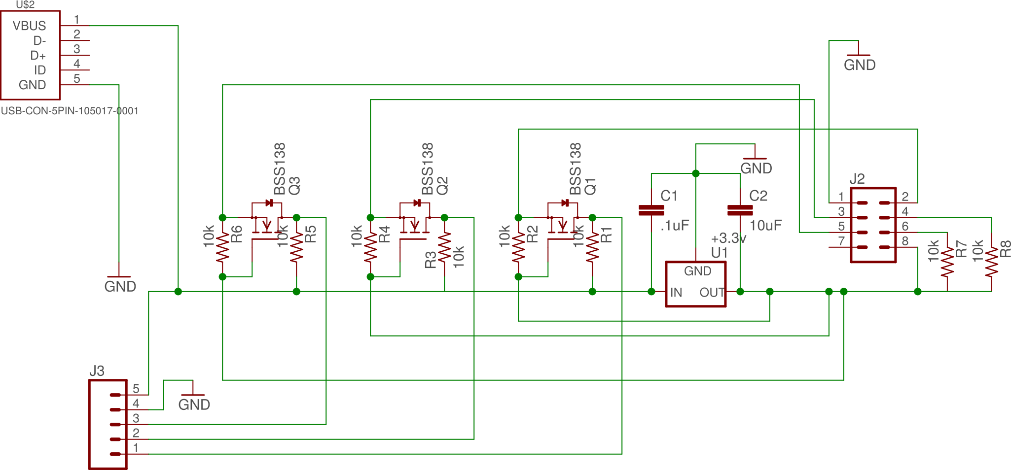 Electronic schematic of mating board