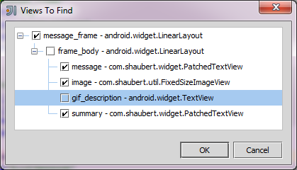 View selection dialog