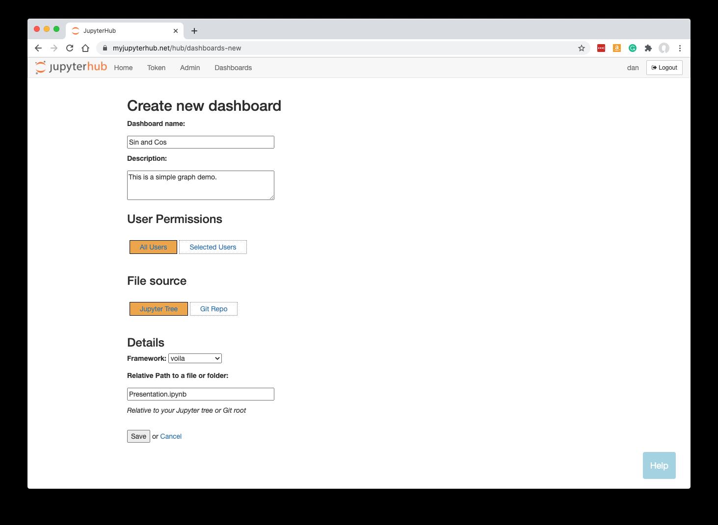 Create New Dashboard