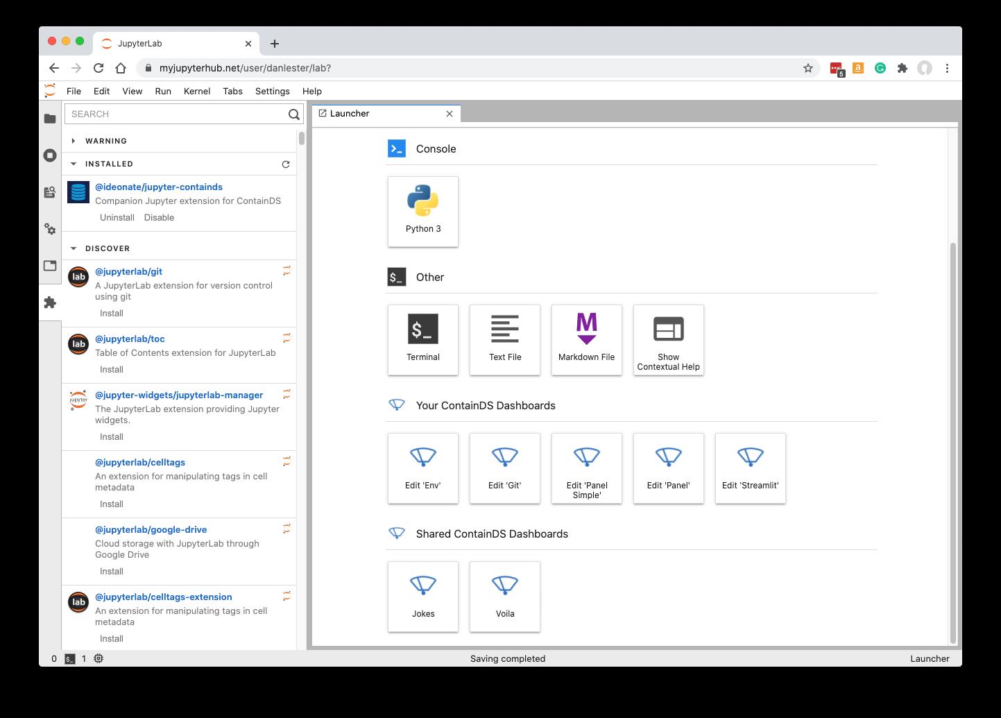 JupyterLab ContainDS Extension screenshot