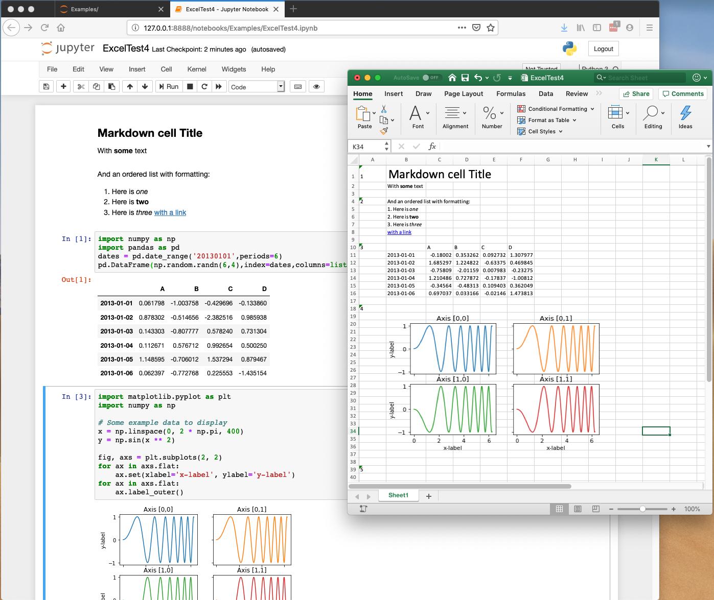 Screenshot of Jupyter Notebook exported to Excel spreadsheet
