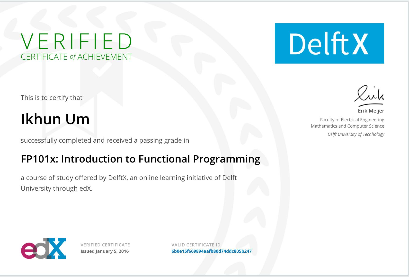 edx.org의 Introduction to Functional Programming 수업 수료후 받음