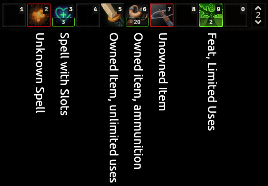 Screenshot showing hotbar counters for spells, items, and feats