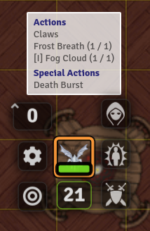 Screenshot showing a Quick Actions list for an Ice Mephit