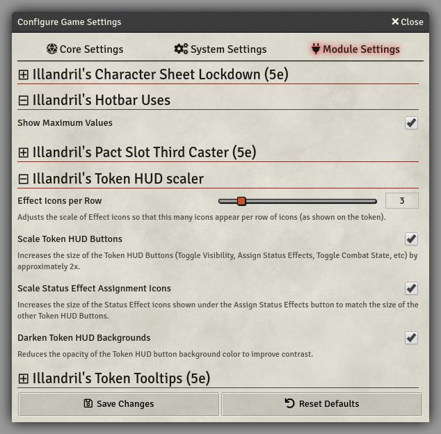 Collapsible Module Settings for a variety of Illandril's modules