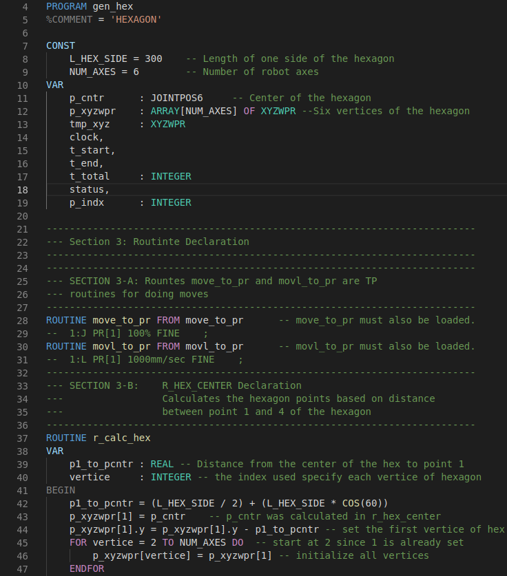 screenshot of code coloring