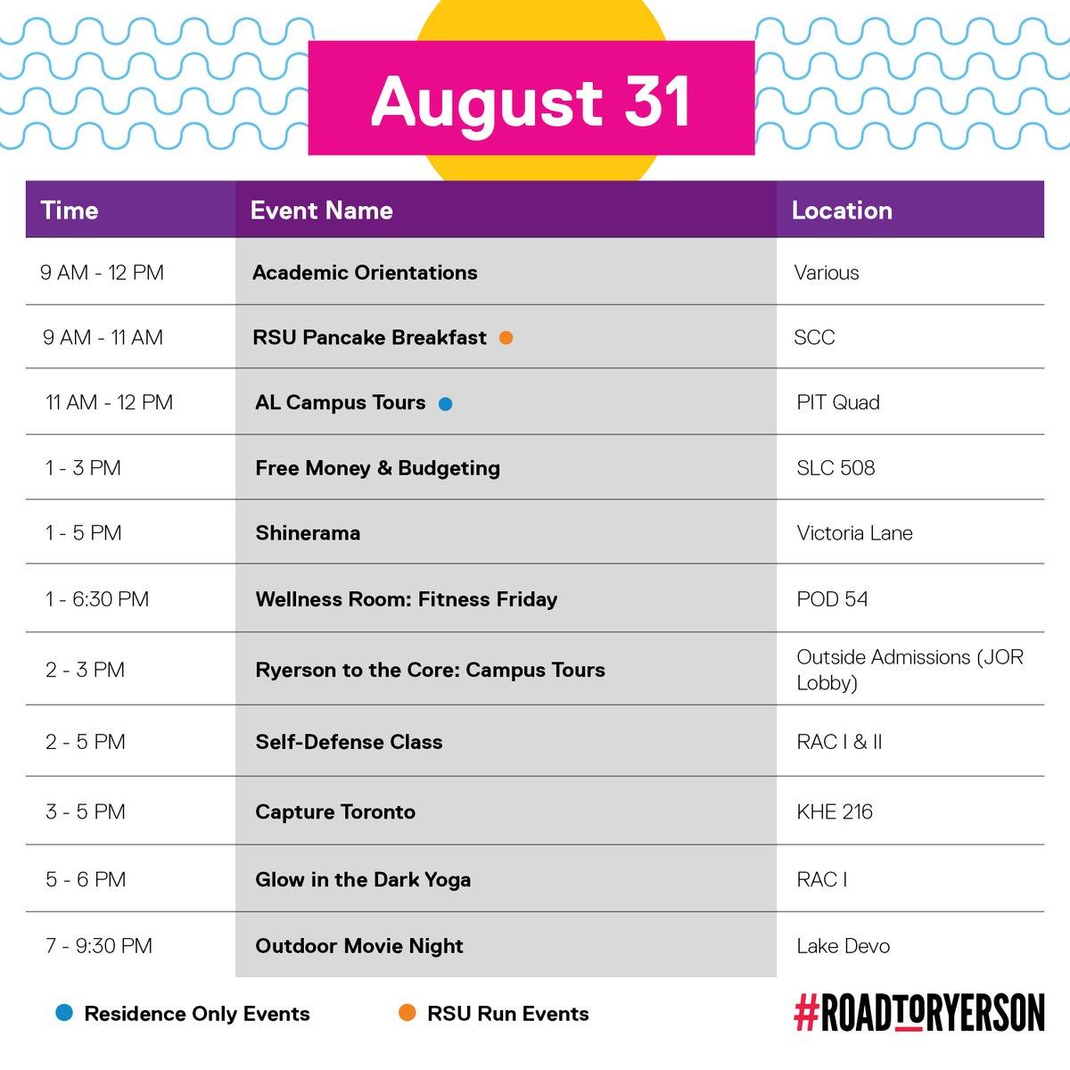 Ryerson Orientation Schedule
