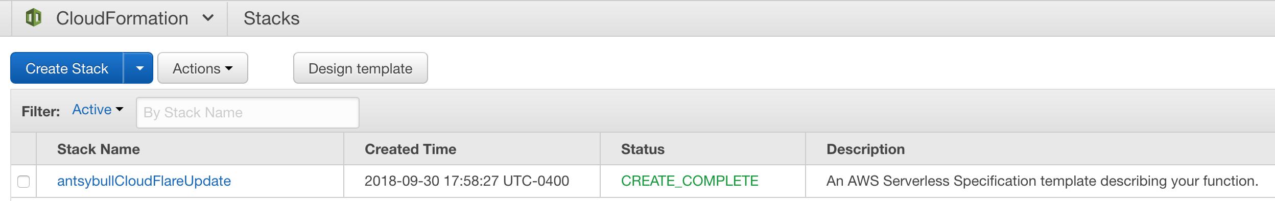 CloudFormation Success Screenshot