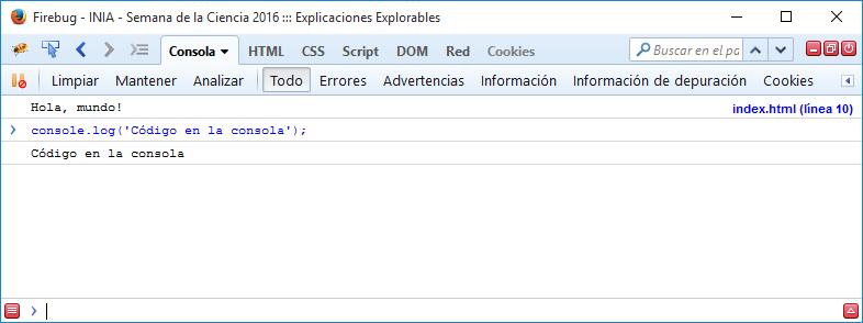Ejemplo de código en la consola