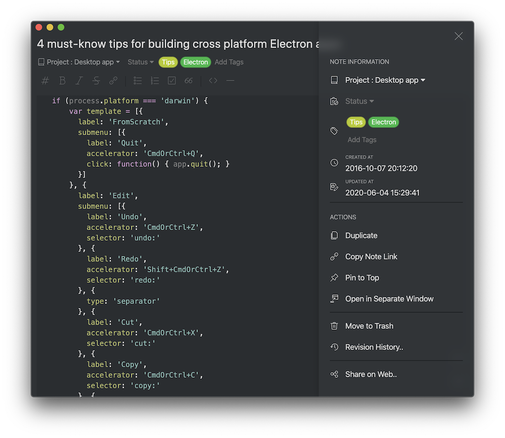 Editor toolbar