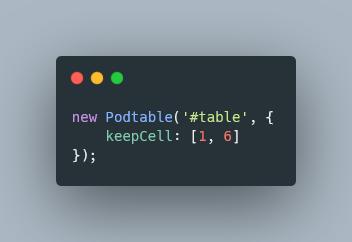 podtable code