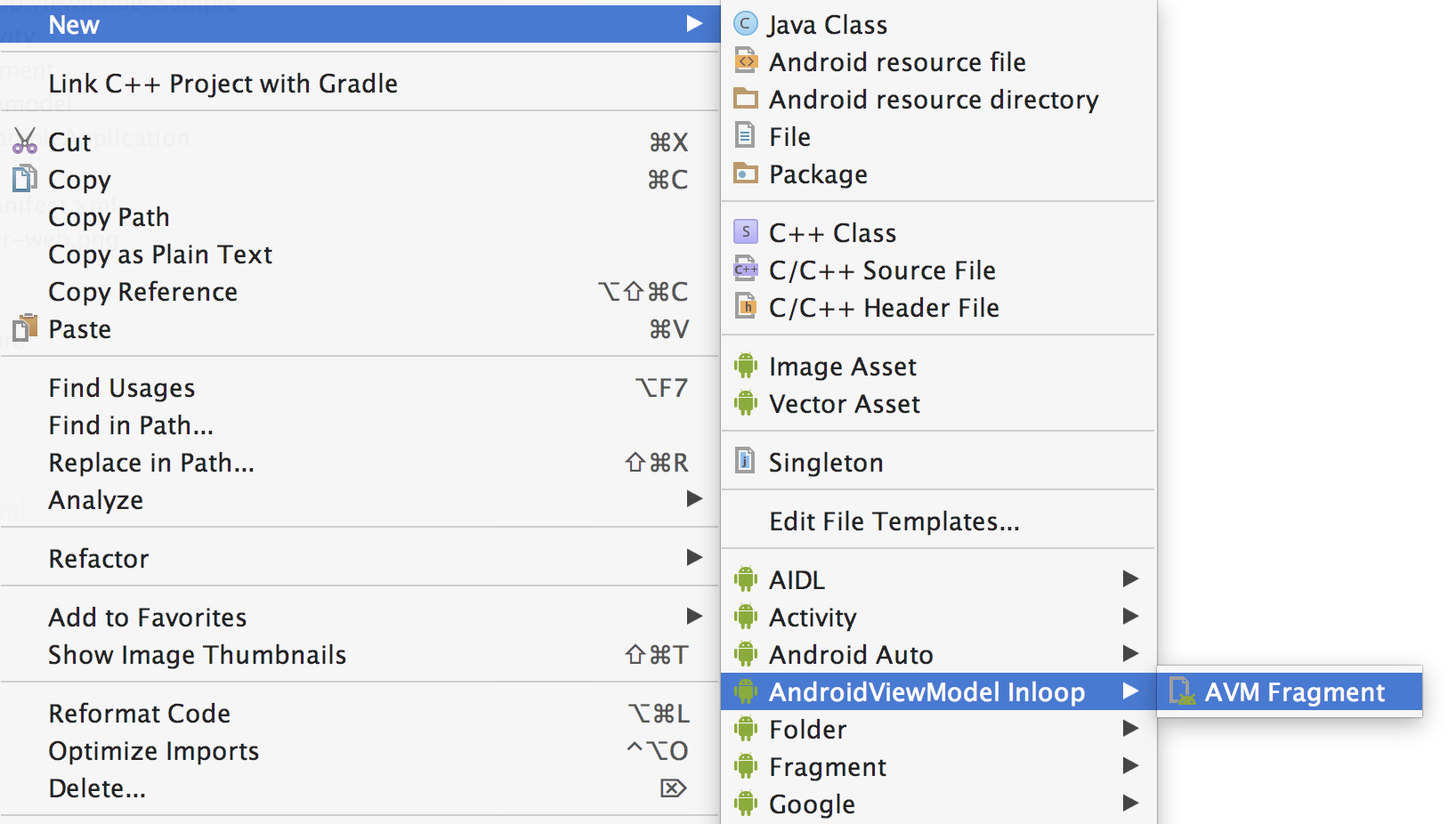 Android Studio New Template
