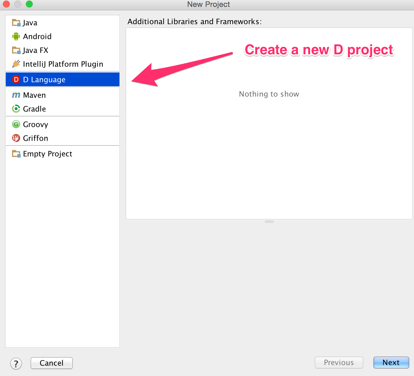 create a new d project